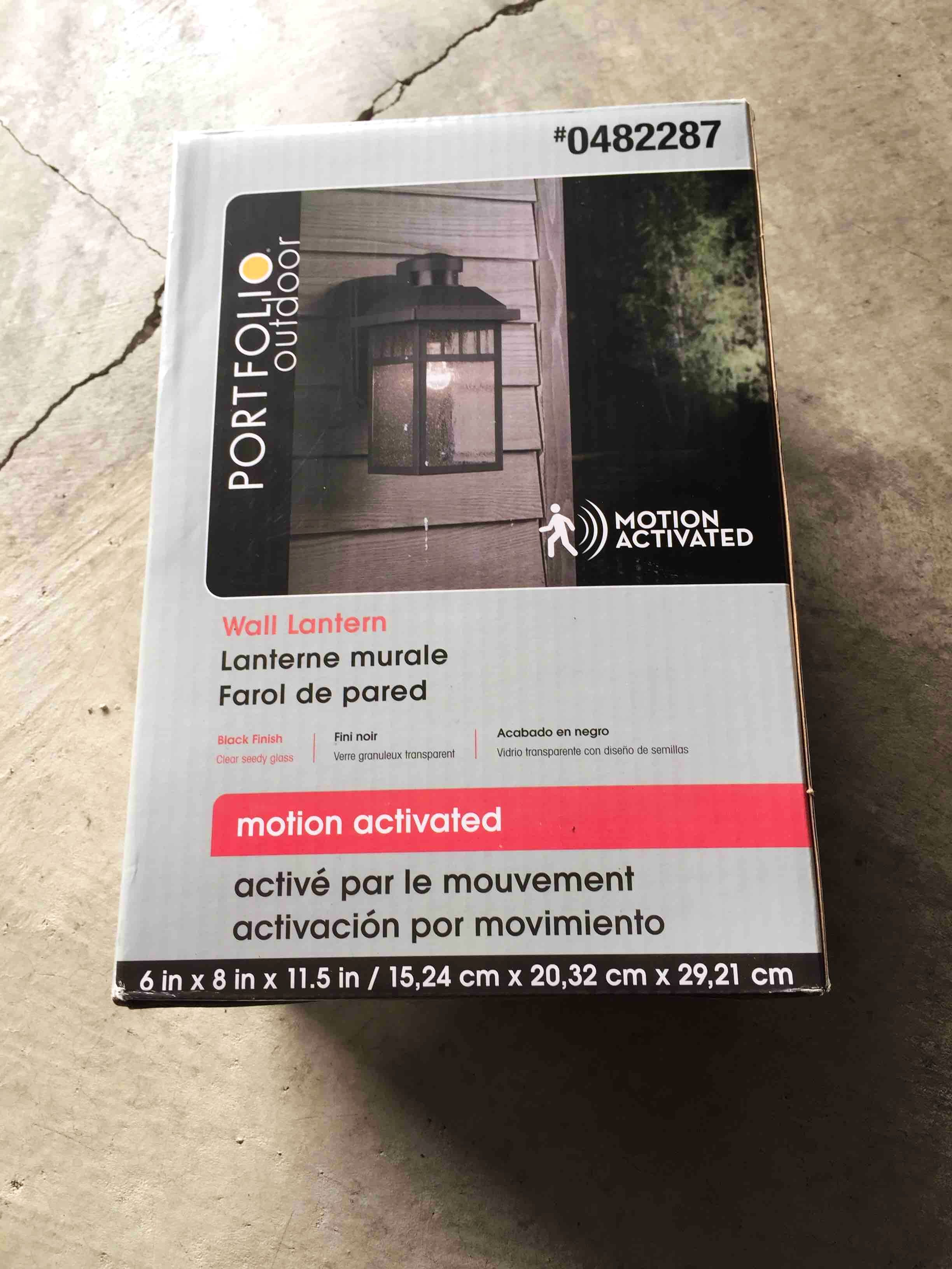 Outdoor light fixture unopened