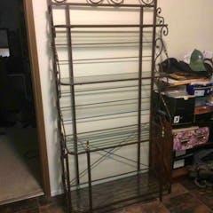 Metal and glass Baker's rack