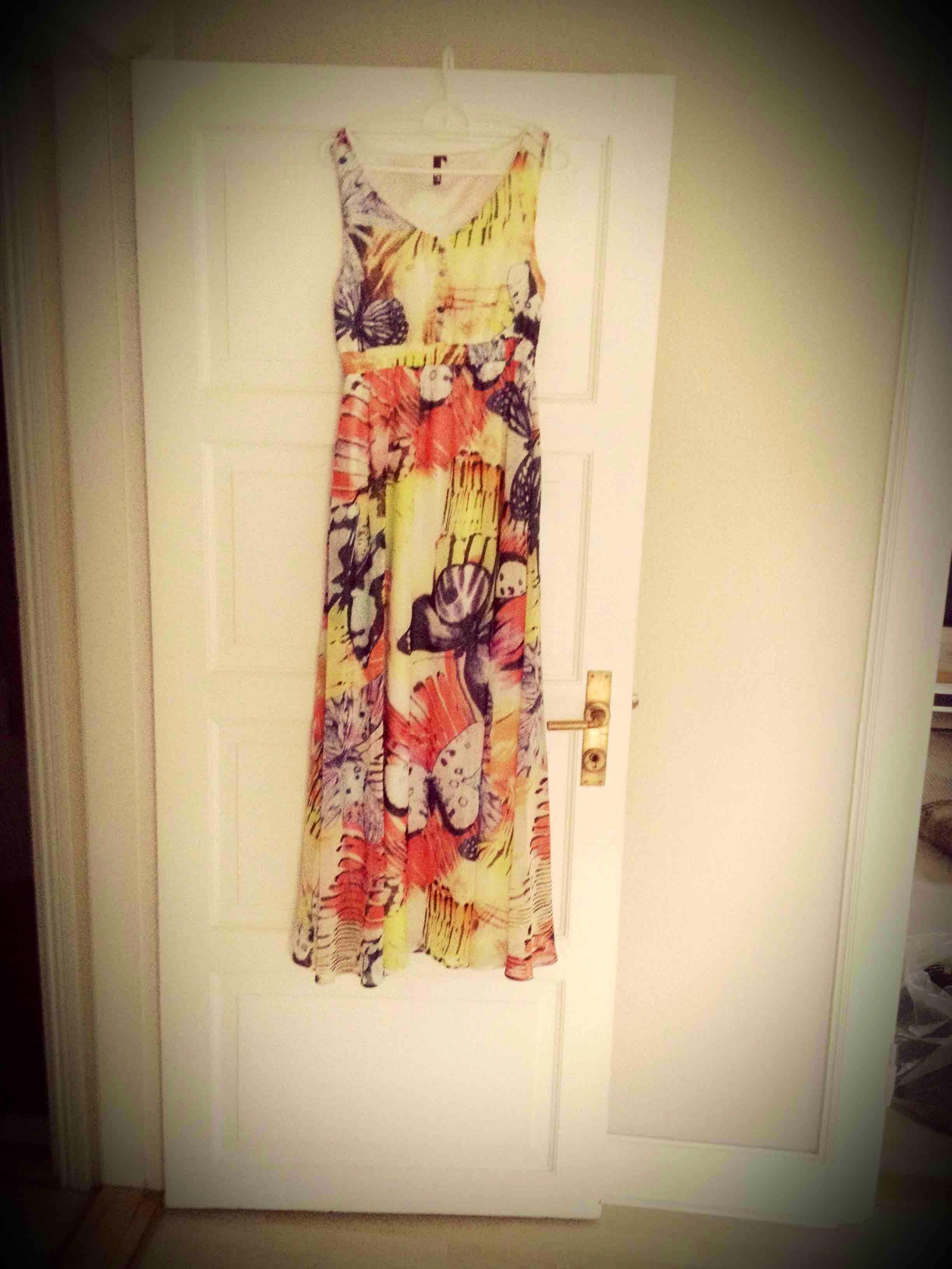 Lang sommer kjole str 38