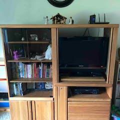 Solid oak entertainment center